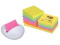 12 Notas Reposicionables 76x76mm Post-It Z Note 330NR + Dispensador Blanco