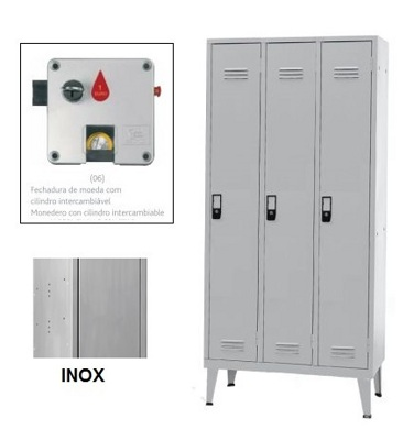 Taquillas Inox Triple 3 Puertas 1700x900x400mm Moneda