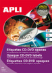 Etiquetas CD-DVD Permanente Opacas Ext ø 117 Int ø 18