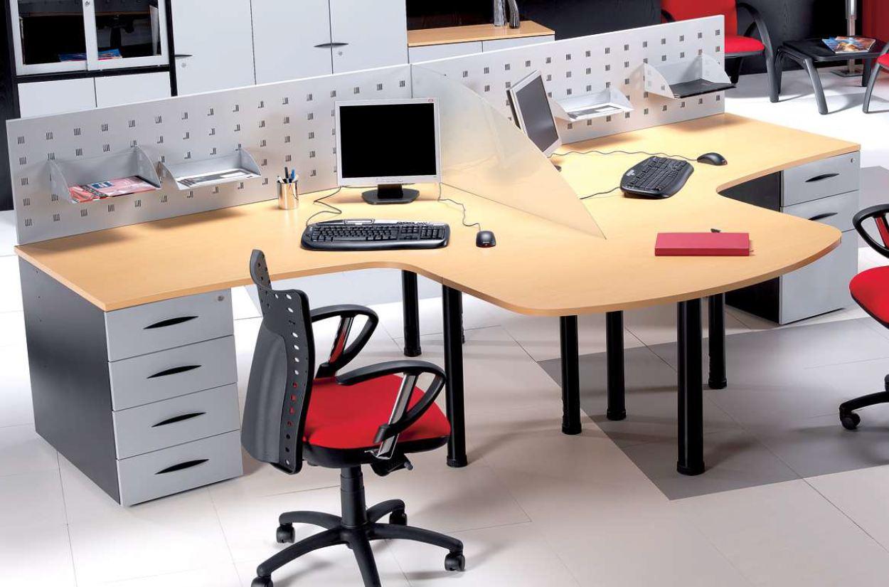 Mesas en l 2 puestos de trabajo 1800x1200x740mm ballet for Mesas de trabajo para oficina